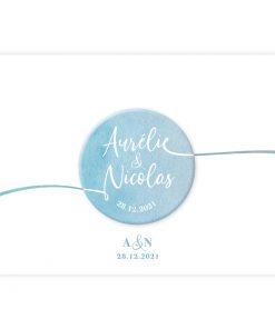 save the date carton mariage bilingue trilingue. Fond aquarelle et magnet assorti.