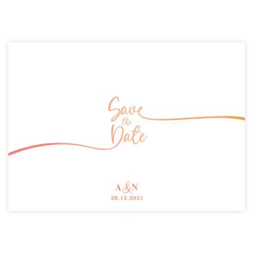 Carton save the date moderne, épuré et élégant; écriture calligraphiée sur fond blanc. mariage bilingue ou trilingue