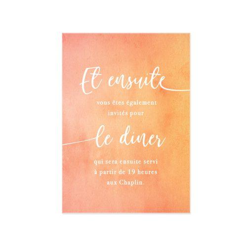 Carton invitation mariage, invitation au brunch, repas ou diner. Fond aquarelle, et motif ligne pour cette invitation bilingue ou trilingue.