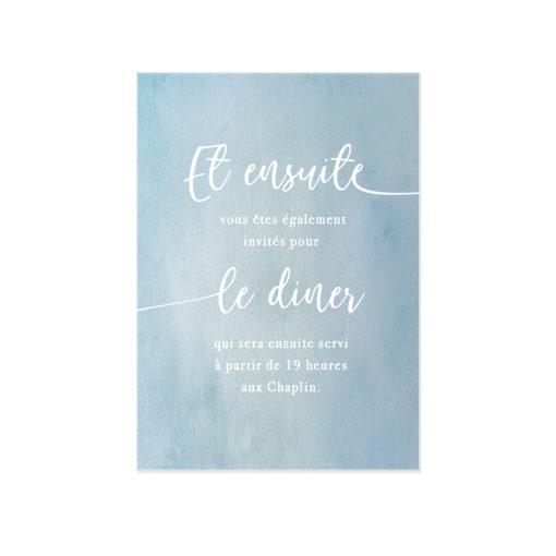 carton invitation repas mariage bilingue, aquarelle, et motif d'une ligne continue.