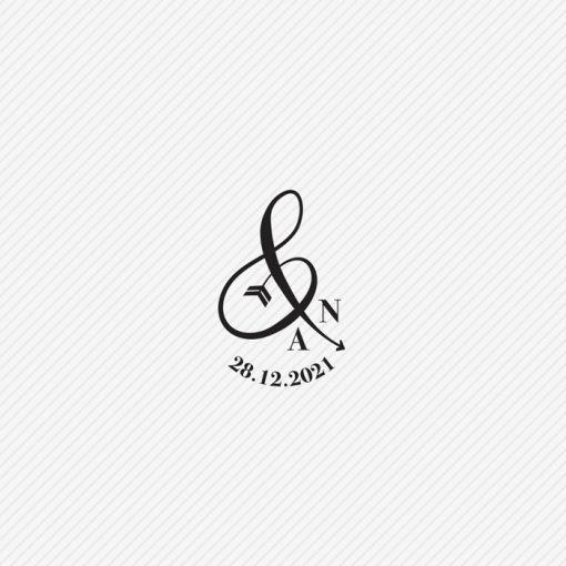 tampon logo mariage & avec initiales et date mariage, flèche de cupidon