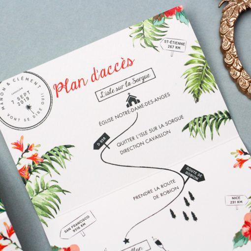 invitation mariage exotique plage tropicale, dépliant 3 volets avec carton réponse intégré