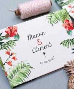 Faire-part mariage exotique dépliant, palmier ananas à personnaliser