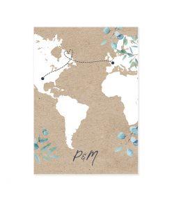Carton repas mariage, carte du monde sur fond kraft. invitation bilingue.