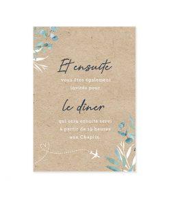 invitation repas mariage petit carton papier kraft, thème voyage bilingue