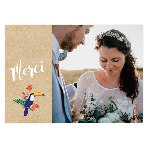 carton remerciements mariage photo sur papier kraft