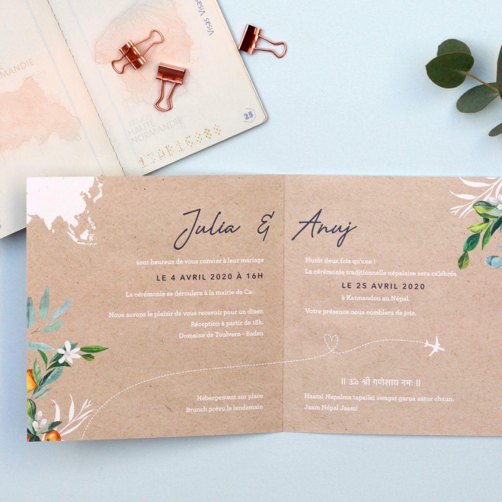Livret invitation mariage kraft, thème voyage et carte du monde