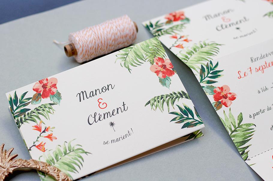 Faire-part mariage exotique tropicale, livret plié 3 volets. Ananas, rsvp à détacher.