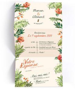 faire-part mariage dépliant, avec carton rsvp inclue. Design tropical exotique