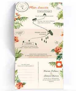 Fire-part mariage exotique tropical; 3 volet dépliant. Motif ananas, feuilles palmier