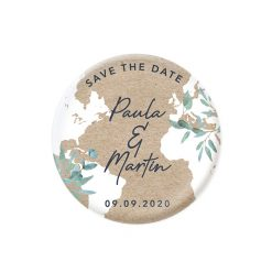 Magnet save the date mariage bilingue avec carte du monde