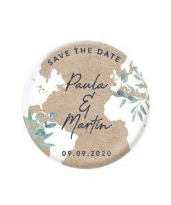 Magnet save the date mariage bilingue avec carte du monde