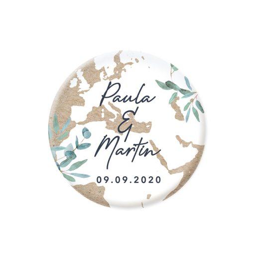 Cadeaux invités mariage bilingue avec carte du monde, magnet fond kraft