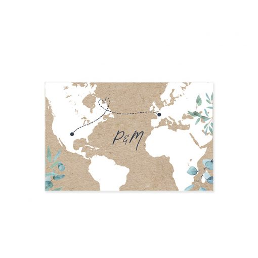 Marque-place repas mariage international, fond kraft avec carte du monde. mariage bilingue