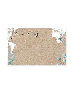 Marque-place mariage bilingue, avec carte du monde sur fond kraft. Thème mariage voyage.
