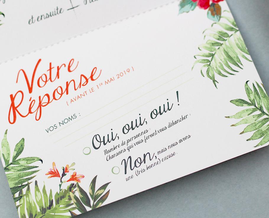 carton rsvp faire-part mariage exotique tropique
