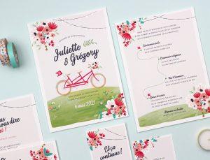 faire-part mariage, dessin vélo dans nature. Mariage champêtre et romantique