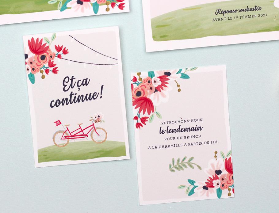 Petit carton invitation mariage, mariage nature romantique et champêtre