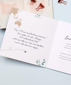 Faire-part mariage international, carte monde bilingue