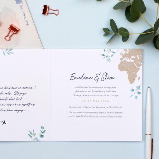 fire-part mariage bilingue carte du monde papier kraft
