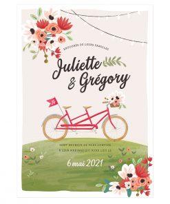 Invitation mariage avec tandem, mariage bucolique romantique et champêtre, décor floral.