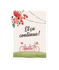 Carton invitation mariage repas brunch du lendemain. Dessin tandem vélo. Herbe nature bucolique. Mariage champêtre et romantique