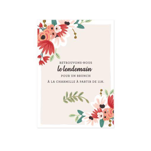 Invitation mariage bucolique champêtre, illustration tandem. Petit carton invitation brunch mariage