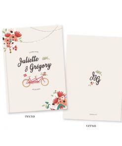 Livre d'or mariage champêtre personnalisé, tandem champêtre chic, guirlandes guinguette