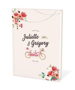 Livre d'or mariage champêtre personnalisé. mariage champêtre chic avec tandem et guirlandes guinguette