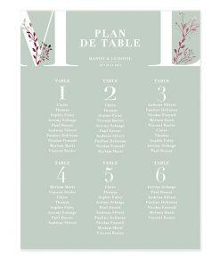 Plan de table mariage, poster imprimé avec initiales personnalisé à l'aquarelle