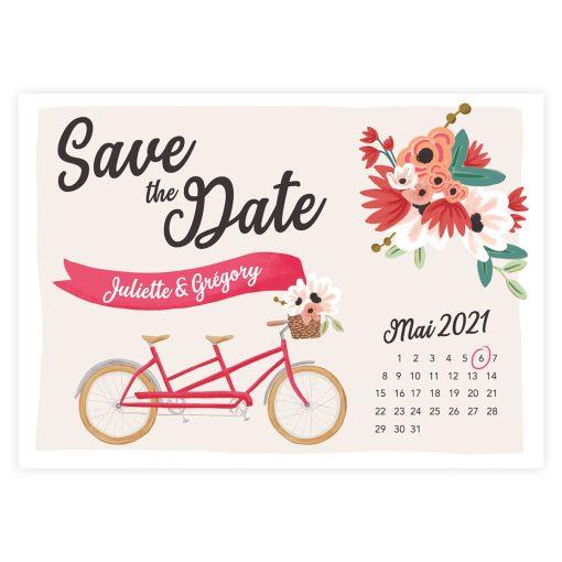 save the date mariage tandem avec calendrier et date entourée.