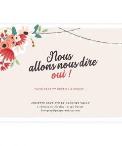 save the date mariage guirlande guinguette, illustration tandem