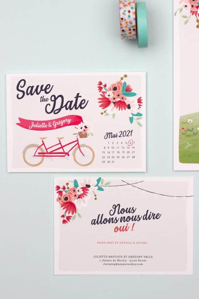 save the date mariage tandem, mariage romantique et champetre