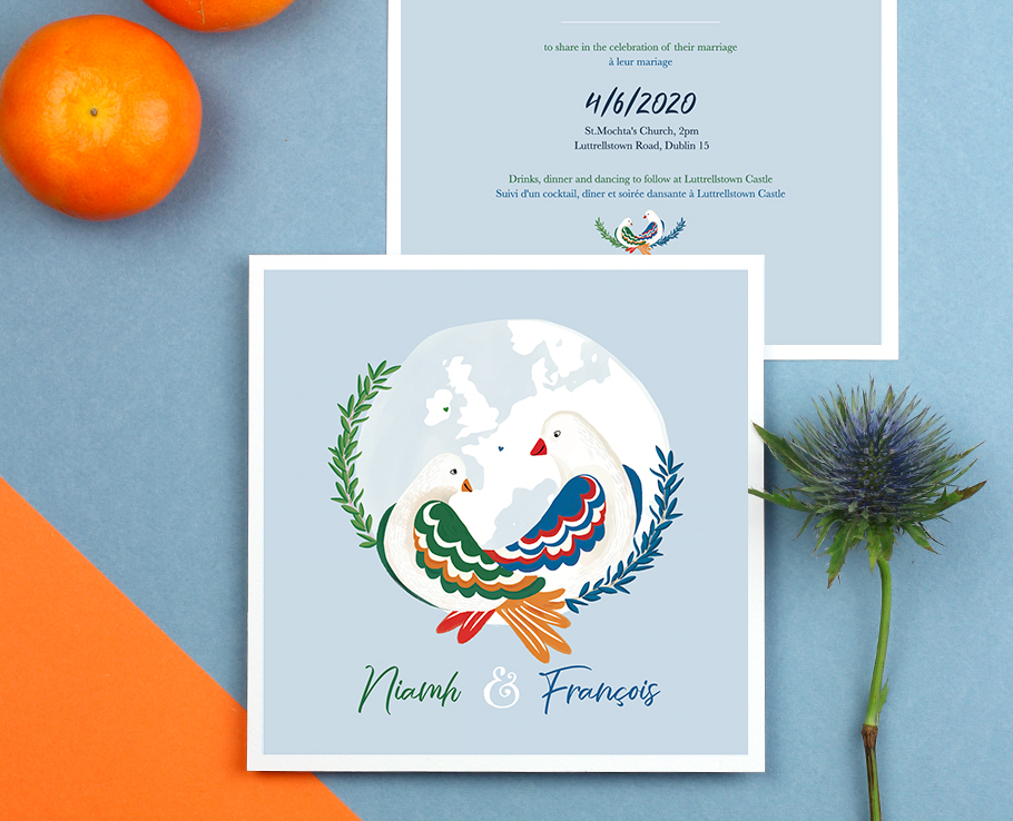 faire-part mariage bilingue France Irlande