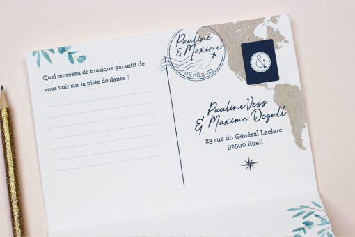 invitation mariage passeport voyage international, coupon réponse