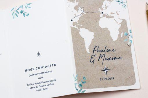 invitation mariage passeport, carte du monde personnalisée