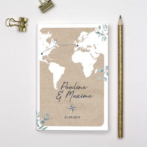 faire-part mariage voyage format passeport livret. carte du monde sur fond kraft