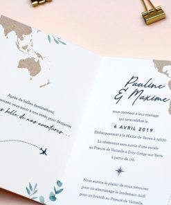 fairepart mariage carte du monde, thème voyage, passeport
