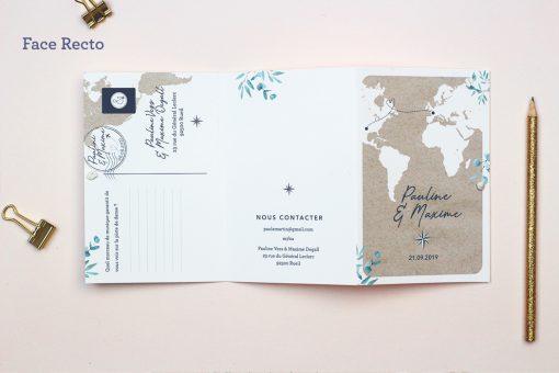 faire-part mariage international format livret comme un passeport
