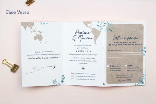 faire part mariage voyage carte du monde sous forme de passeport international