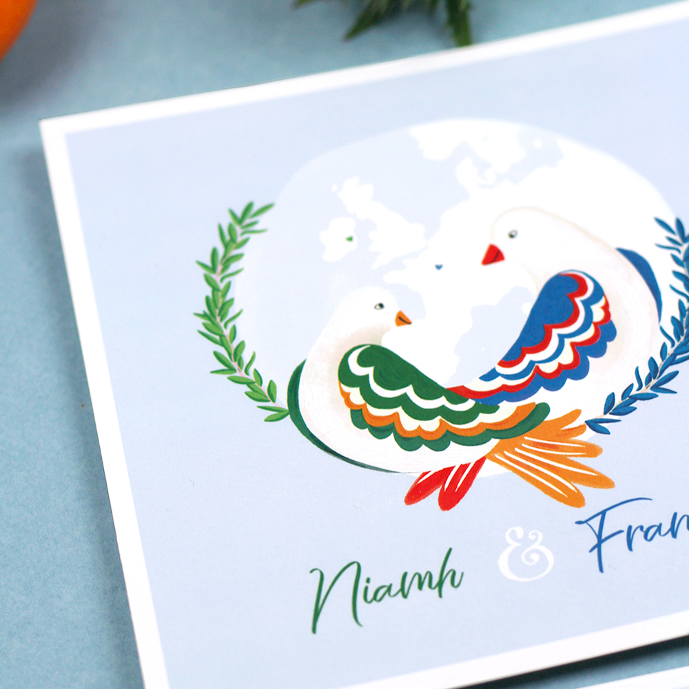 Faire-part mariage France Irlande, l'invitation bilingue
