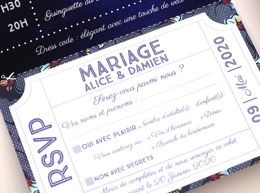 faire-part mariage guinguette 3 volets, coupon réponse détachable