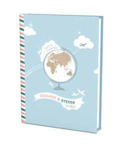 Livre d'or mariage voyage Globe terrestre et carte du monde