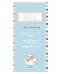 menu mariage voyage Globe terrestre.