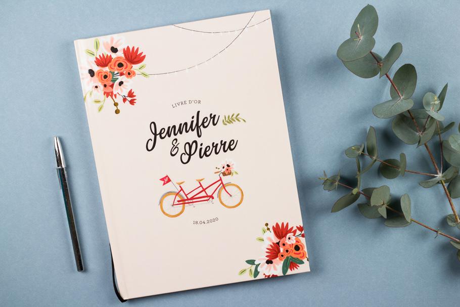 livre d'or mariage tandem, mariage champêtre bohème