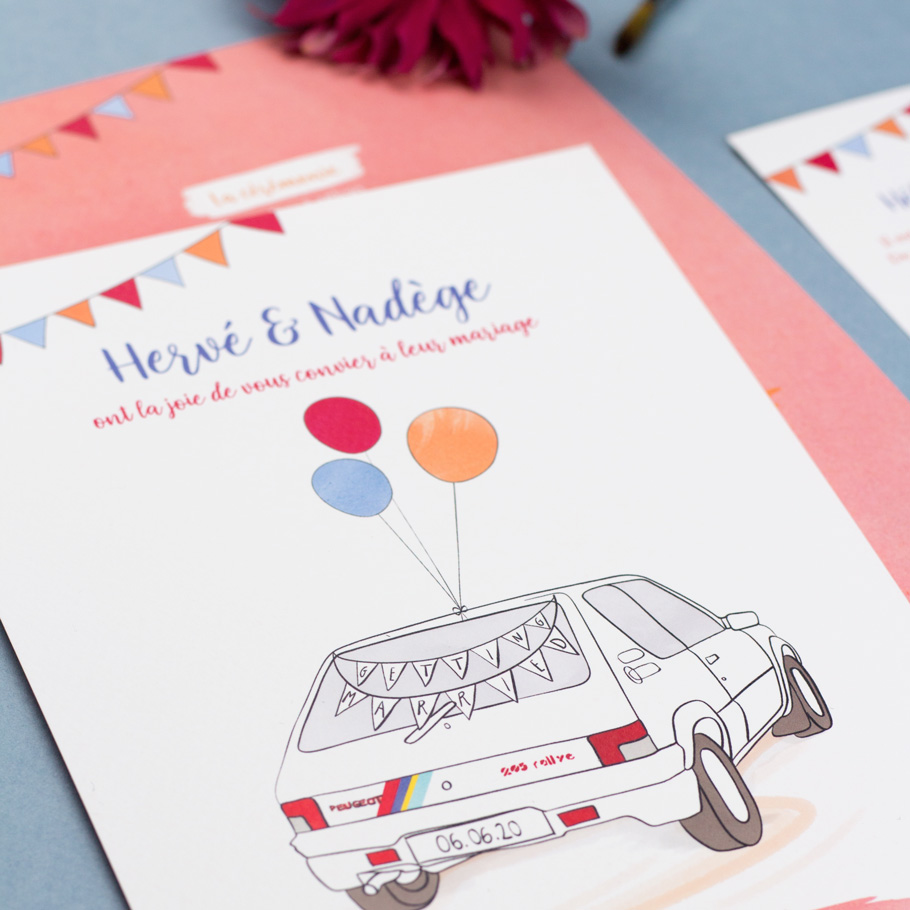 faire part mariage 205 rallye, passion tuning invitation mariage colorée