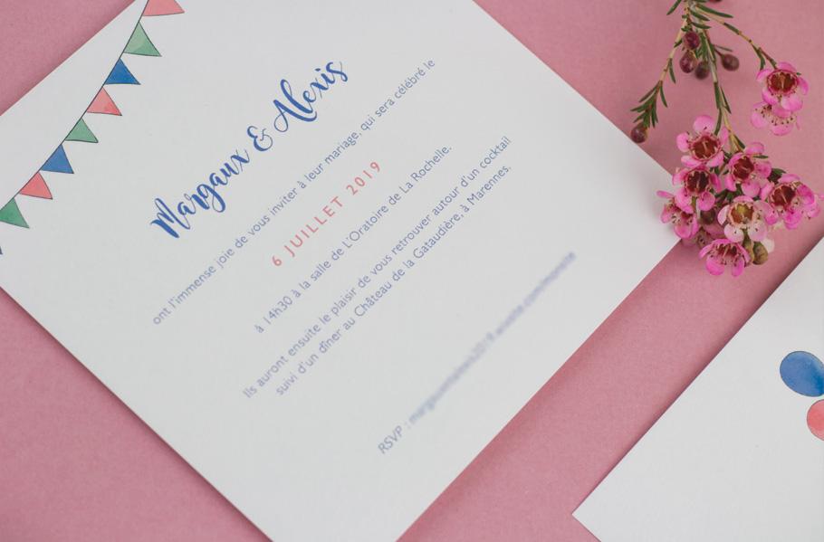 invitation mariage 2CV guirlande et voiture vintage