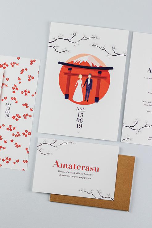 faire-part mariage japon portrait des mariés, torii et fleurs de cerisiers