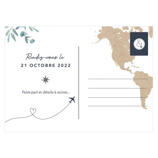 Carte mariage voyage save the date, carte postale