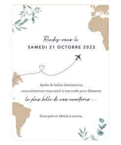 Carte mariage voyage save the date avec carte du monde et avion